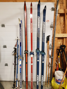 5 Pairs of Cross Country Skiis with Bindings and 3 Sets of Poles