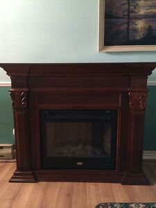 Coleman Electric Fireplace in a beautiful mahogany mantel