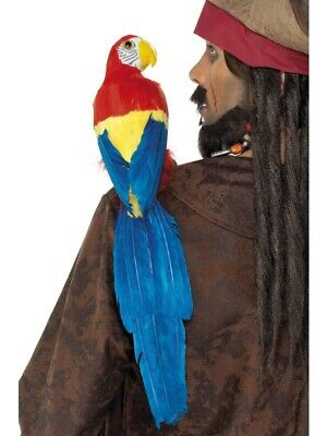 Papagei Pirat Deko Vogel 3-farbig 50cm zum Piratenkostüm mit Gummiband