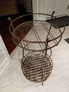 Pier One Bronze Wine Rack with Glass Shelves