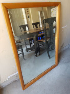 Large Mirror with Solid Wood Frame