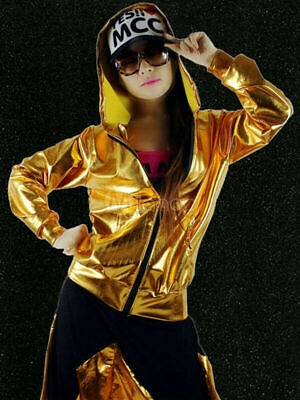 Costumes For Hip Hop (Hip Hop Dance Costume Gold Jacket With Pants For Women New L, US)