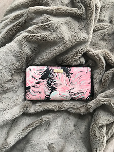 Kate Spade Pink Feathers Accordion Zip Wallet