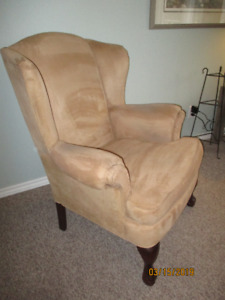 Wing Chair, beige faux swede, good condition, Made in Canada