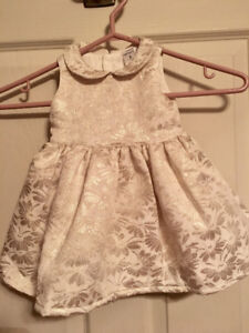 White and gold Carter's Christmas dress 6 months