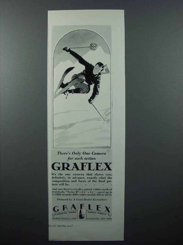 1928 Graflex Camera Ad - Skier - Only One