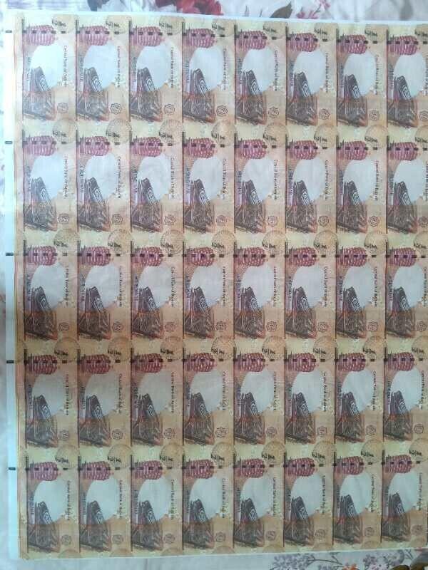 2017 Bahrain uncut 1/2 dinar 40pc banknote sheet,no frame