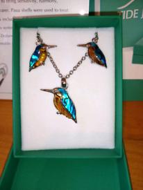 blue & orange Paua shell kingfisher earrings and necklace