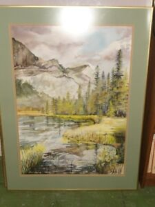 Large Framed Watercolour of a Mountain Scene