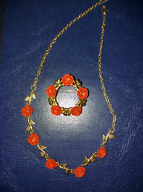 Red Rose Necklace with Brooch.