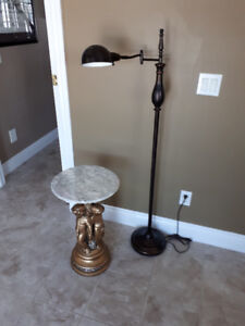 Decorative marble table and reading lamp