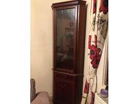 Mahogany glass corner cabinet