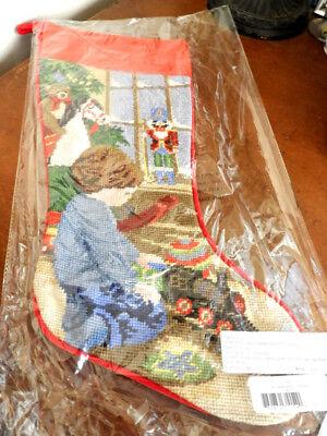 Sferra Needlepoint Christmas Stocking LITTLE BOY PLAYING W/ TRAIN Wool - NEW!