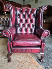 Oxblood Chesterfield Queen Anne Chair