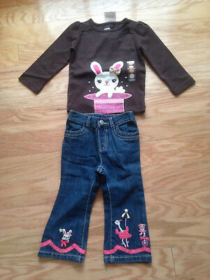 NWT Gymboree Star of the Show Bunny Hat Top Circus Jeans Set 12 18 Month Outfit - Circus Outfits