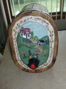 Vintage Hand Painted Wine Dispensing Wood Barrel With Stand Att.