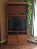 Real solid oak entertainment stand