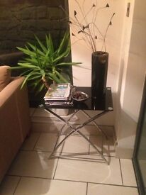 Coffee table black and chrome
