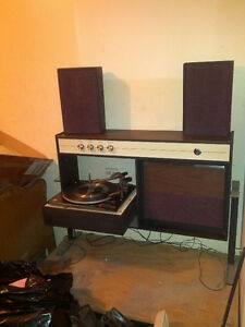 Antique record player/vinyl unit w/ fold-down player & speakers