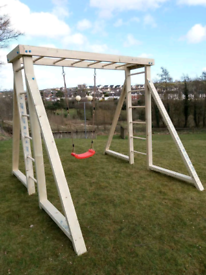 Kids wooden swing frame with monkey bars