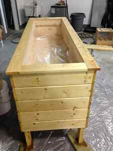 Newly constructed pine planter box