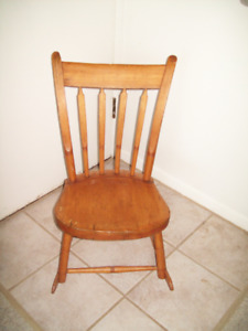 ANTIQUE PINE ARROW BACK CHILDS ROCKING CHAIR
