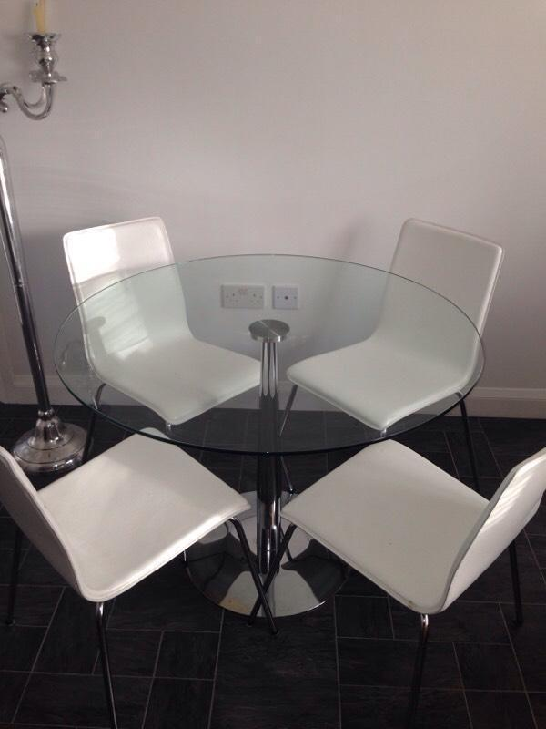 Glass Dining Table amp 4 White Chairs in Pontefract West  : 86 from www.gumtree.com size 600 x 800 jpeg 34kB
