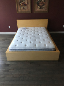 Ikea MALM Double Bed Frame and Serta Double Mattress