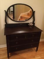Vintage Solid Wood Chest and Mirror