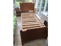 Pine single guest bed with foldaway second bed underneath