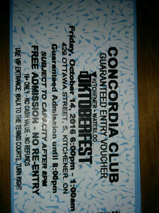 Concordia Club - October 14 Oktoberfest 2 Tickets