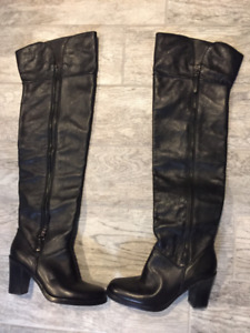 Via Spiga Black Leather  New Over-the-Knee Boots