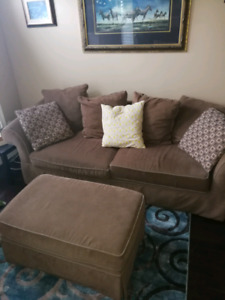 Couch, large chair and ottoman.