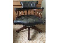 Lovely green Chesterfield style captains chair