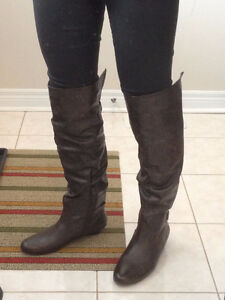 BEAUTIFUL Brown Over the Knee Wedge Boots