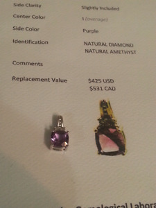 DIAMOND AMETHYST PENDANT WITH COA