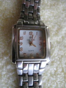 LOUIS ARDEN BATTERY-OPERATED WATCH with BASKET-WEAVE STRAP