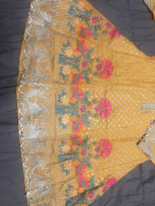 Yellow Embroidered Kurti with Tilla Work Pakistani Indian