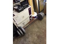 Weight training barbell and 45kg weights
