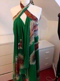 Green glitter feather dress