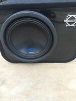 Alpine subwoofer with box and amp
