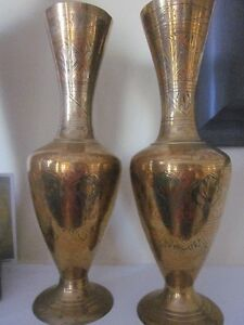 2 Antique Solid Brass Indian Vases-Hand Etched Designs w/ Colour