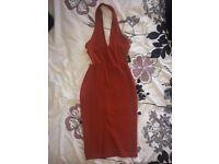 Rosa Rust Halterneck Midi Dress - size 8
