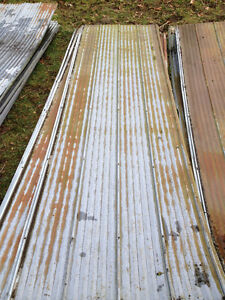 old tin roofing , rusty worn looks great 12'long and 8' long som