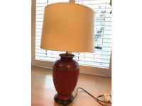 Lamp and shade in crazed red terracotta with gilding