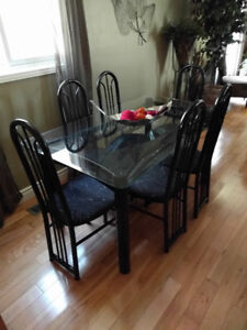 Dining Set, Glass top, 6 chairs.