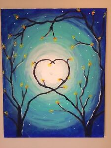 """Beautiful """"Heart in the moonlight"""" painting."""