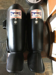 Leather Martial Arts Shin Guards in good condition.