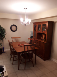 Incredible DEAL! Solid Wood Canadian Table, Leaf, Chairs & Hutch