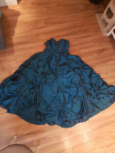 blue ball gown with jewels